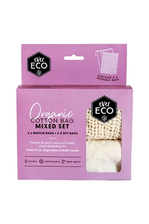 Ever Eco Organic Cotton Produce Bags Mixed Set 4 Pack