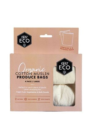Ever Eco Organic Cotton Muslin Produce Bags 4 Pack