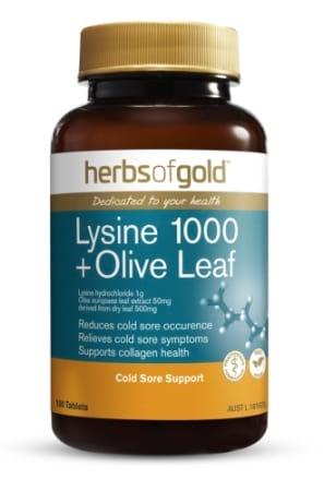 Herbs of Gold Lysine 1000 plus Olive Leaf
